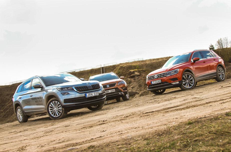"""Šeimyninių automobilių bandymai - """"Volkswagen Tiguan"""", """"Škoda Kodiaq"""" ir """"Seat Ateca"""""""