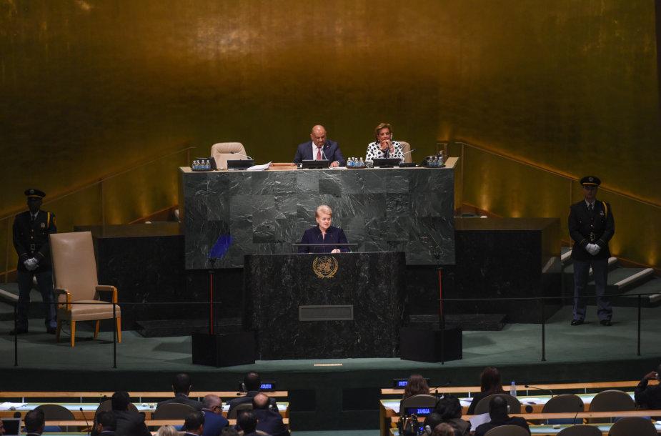 Dalia Grybauskaitė Jungtinių Tautų Generalinės Asamblėjos tribūnoje
