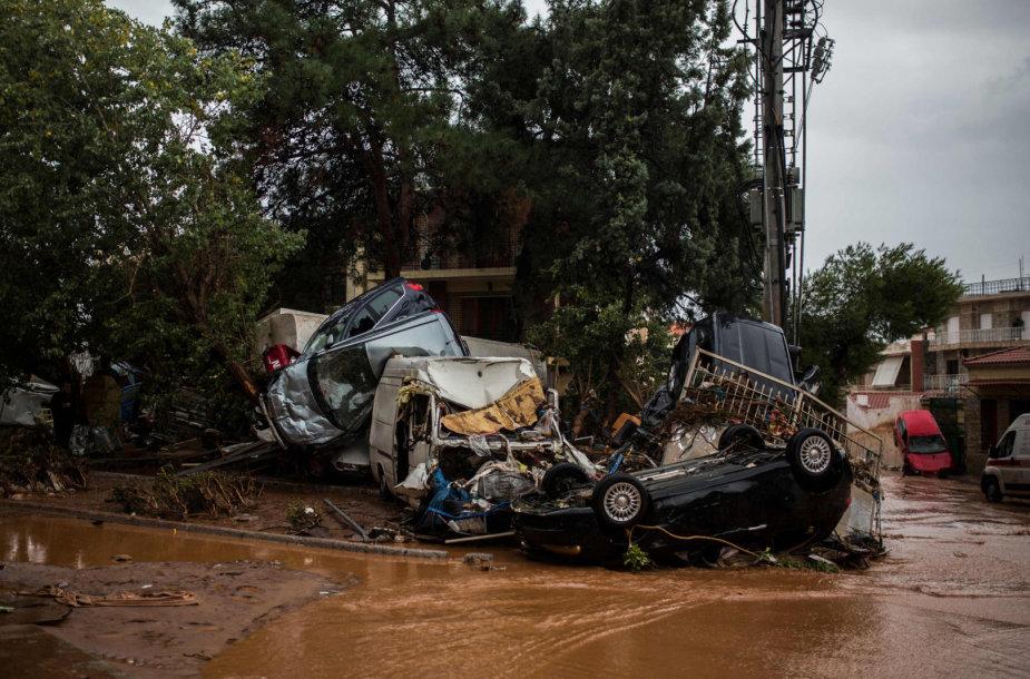 Potvynio Graikijoje pasekmės