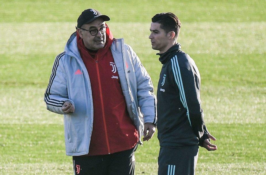 Maurizio Sarri ir Cristiano Ronaldo
