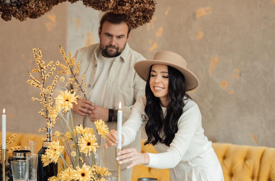 Renginių organizatorė Justina Matulevičienė ir floristas Pavelas Zalescevskij