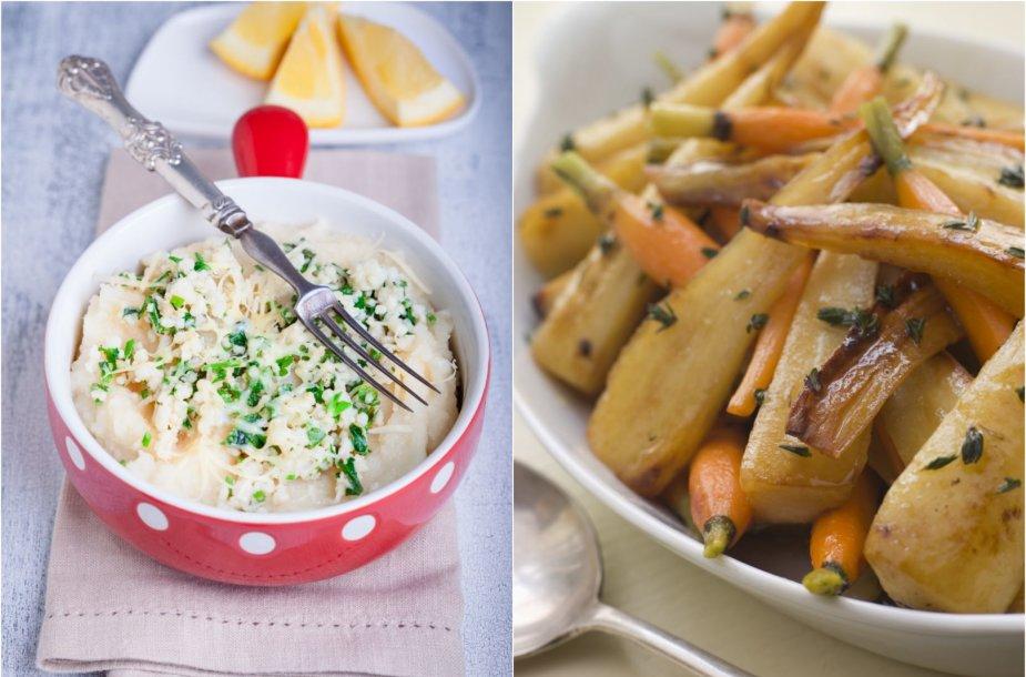 Salierų košė ir kepti pastarnokai bei morkos
