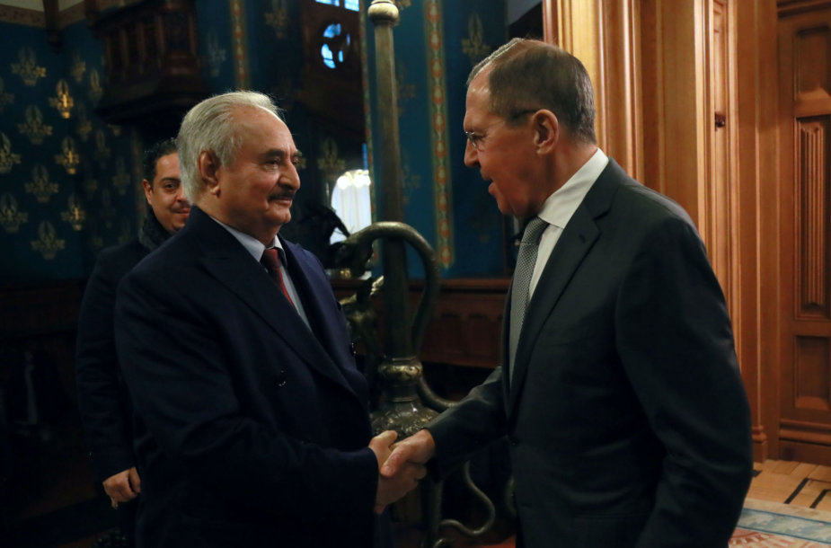 Khalifa Haftaras ir Sergejus Lavrovas