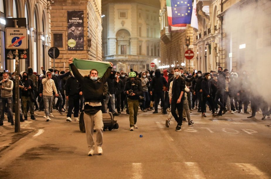 Protestuotojai Florencijoje