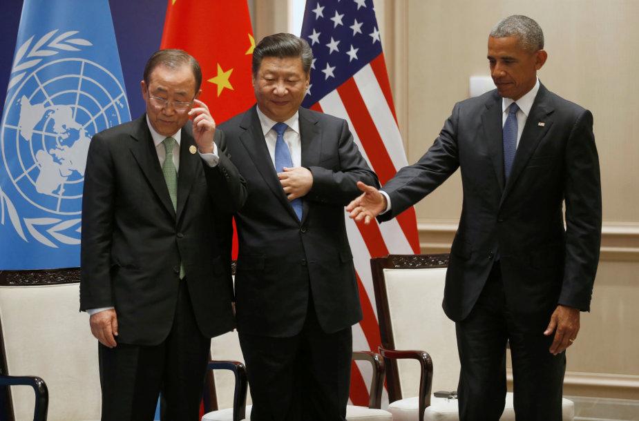 Ban Ki-moonas, Xi Jinpingas ir Barackas Obama