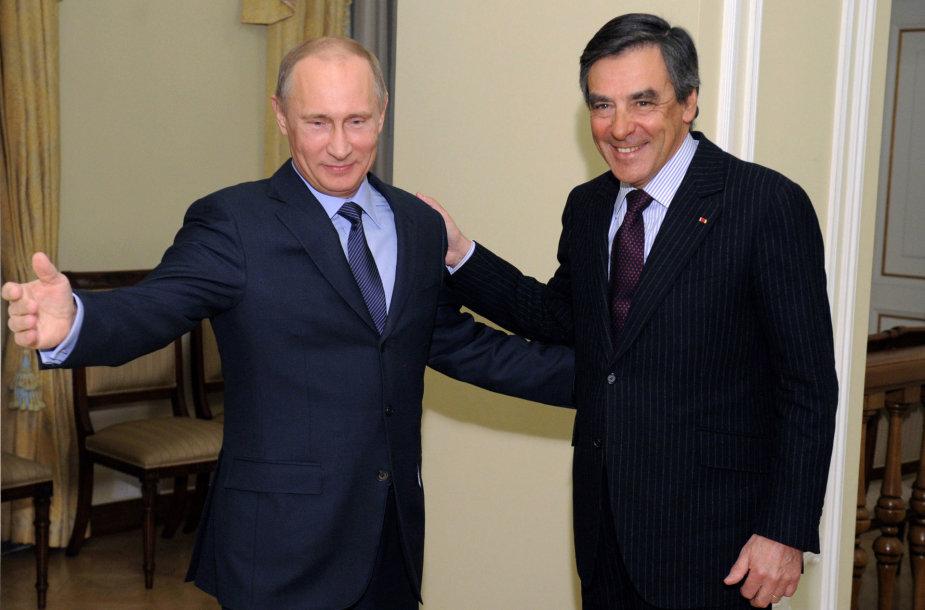 Vladimiras Putinas ir Francois Fillonas Maskvoje 2013 metais