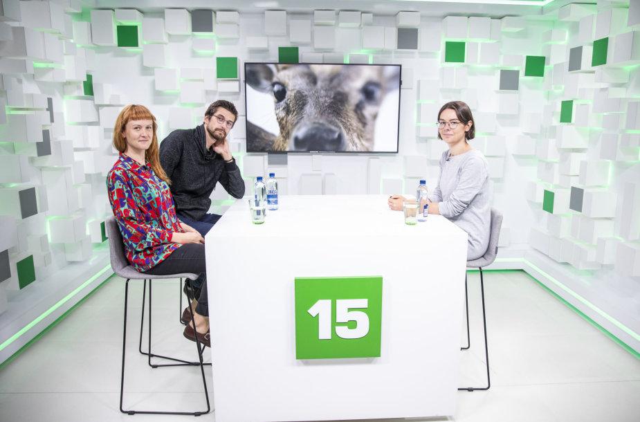 """15min studijoje – filmo """"Animus Animalis"""" režisierė Aistė Žegulytė ir montažo režisierius Mikas Žukauskas."""