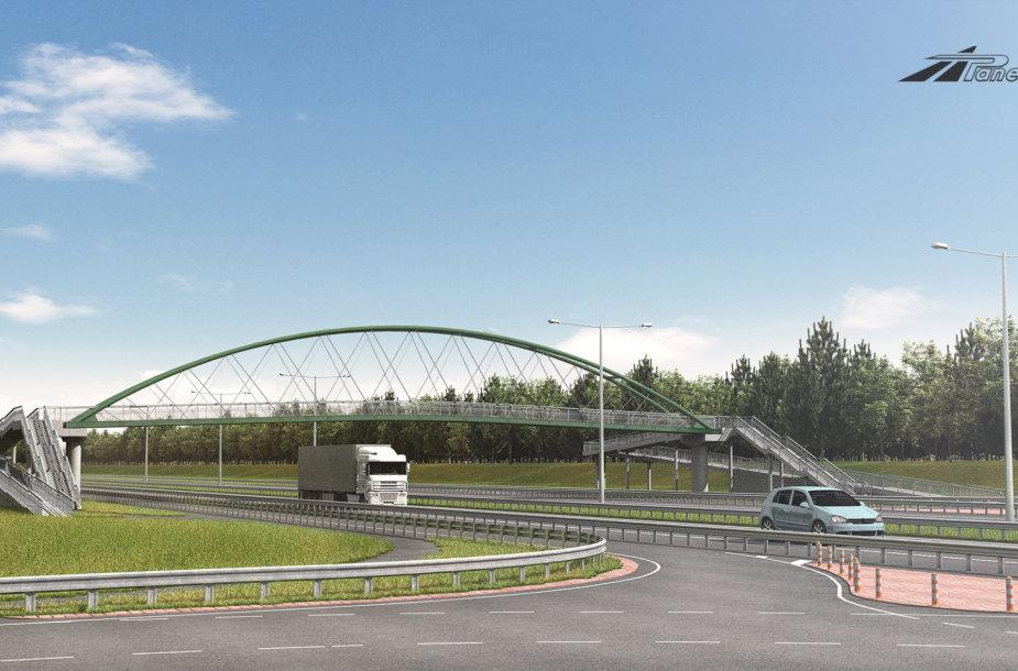 Pėsčiųjų viadukas ties Žemaitkiemio sankryža, žiūrint nuo Vilniaus pusės