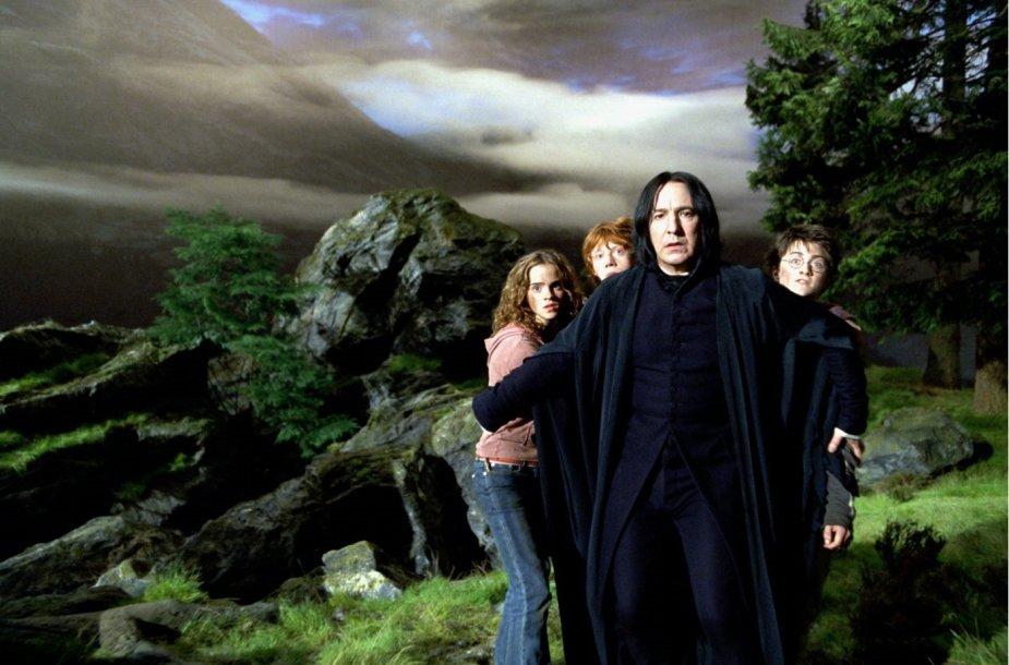 "Emma Watson, Rupertas Grintas, Alanas Rickmanas ir Danielis Radcliffe'as filme ""Haris Poteris ir Azkabano kalinys"""