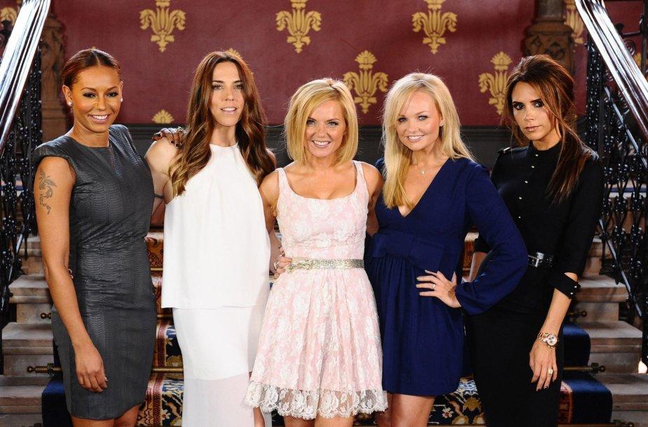 """""""Spice Girls"""" narės Melanie Brown, Melanie Chisholm, Geri Halliwell, Emma Bunton ir Victoria Beckham (2012 m.)"""