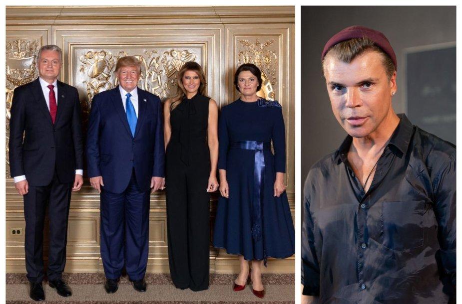 Gitanas Nausėda, Donaldas Trumpas, Melania Trump, Diana Nausėdienė; Juozas Statkevičius