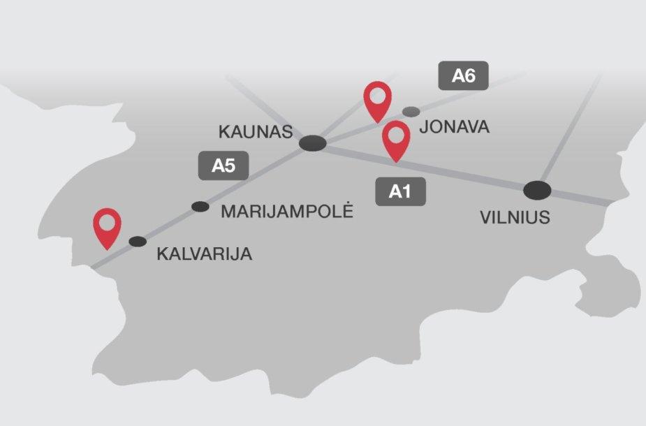 Kontrolės postų žemėlapis