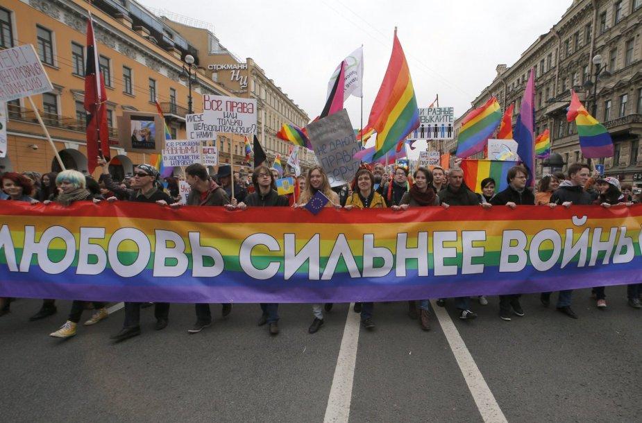 Homoseksualų teisių gynėjų protestas Sankt Peterburge
