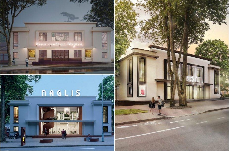 """Kino teatro """"Naglis"""" architektūrinio konkurso darbai"""