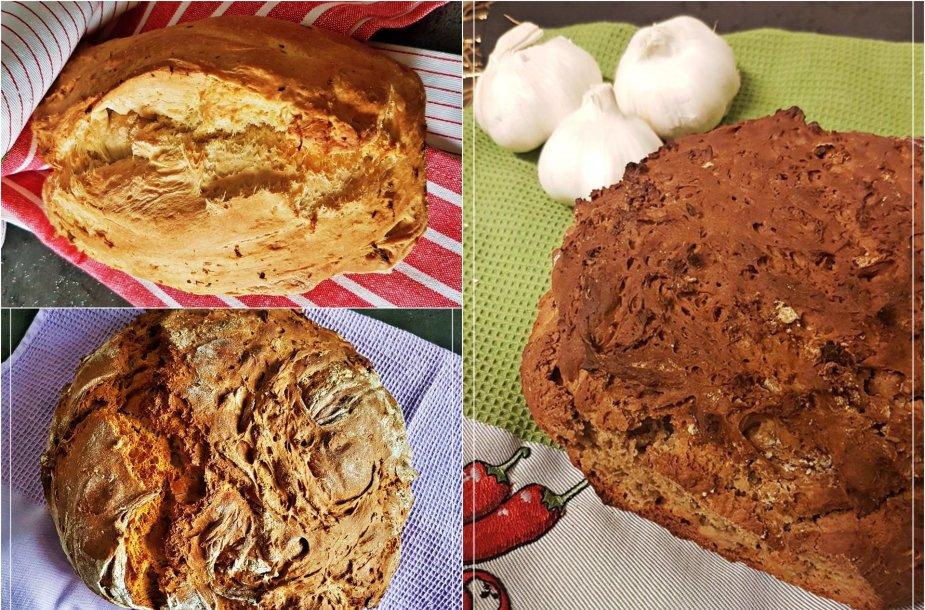 Trijų skirtingų rūšių duona