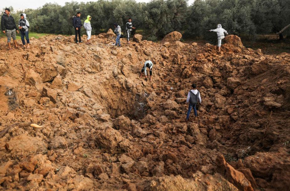 Izraelio oro smūgio vieta Gazos Ruože