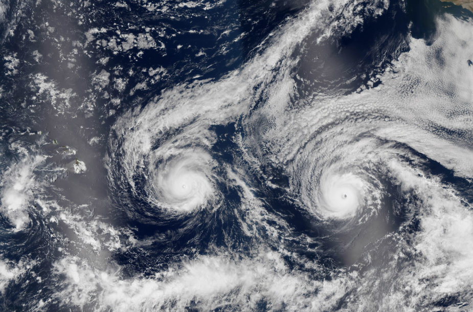 Du uraganai virš Ramiojo vandenyno