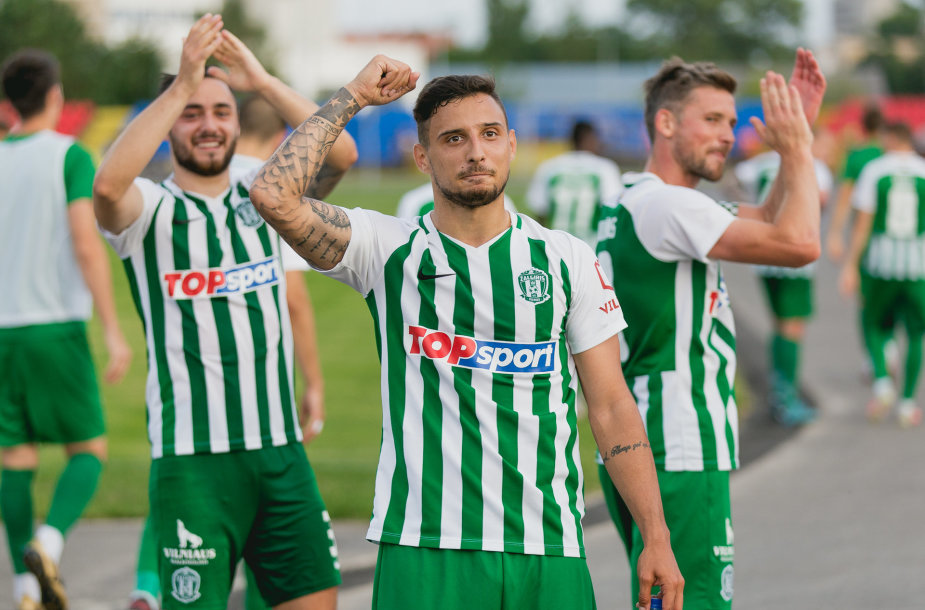 """Vilniaus """"Žalgirio"""" futbolininkai: M.Karamarko ir H.Videmontas."""
