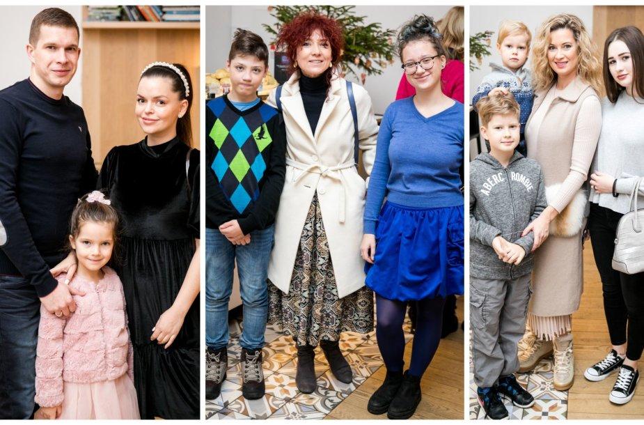 Indrė Trusovė su šeima, Redita Dominaitytė su vaikais, Renata Voitechovskaja-Norvilė su sūnumis ir dukra.