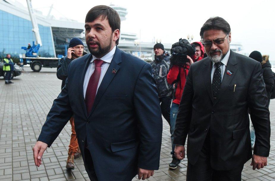 Derybų raundas Minske dėl taikos rytų Ukrainoje: Donecko ir Luhansko apsišaukėliškų respublikų atstovaiDenisas Pušilinas (kairėje) ir Vladislavas Deinego 2015 m. sausio 31 d.