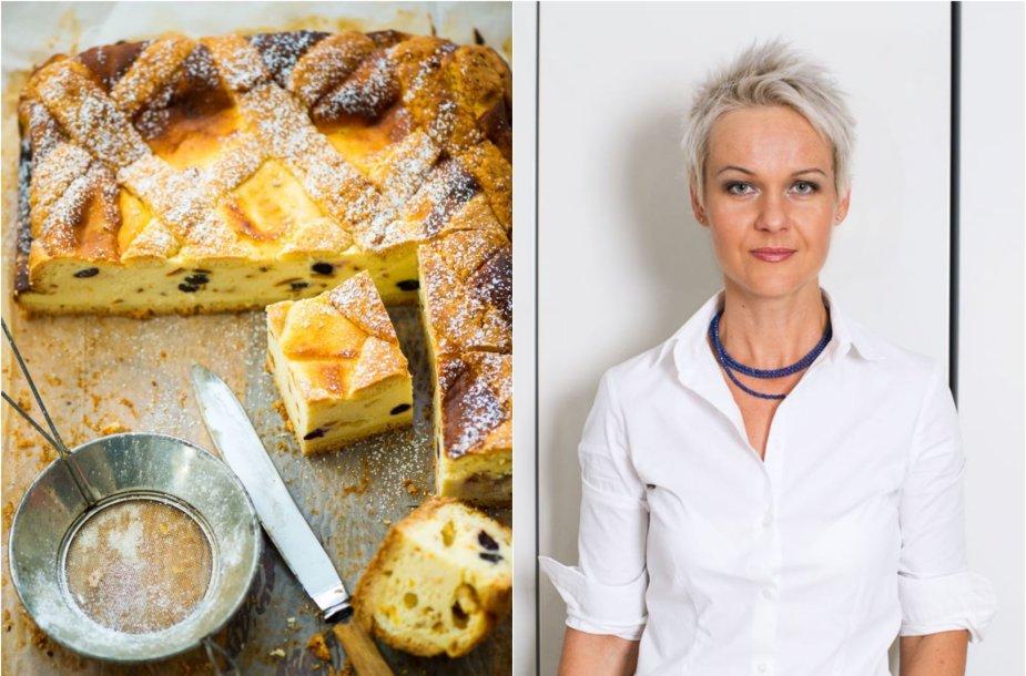 Nida Degutienė ir jos keptas Krokuvos varškės pyragas