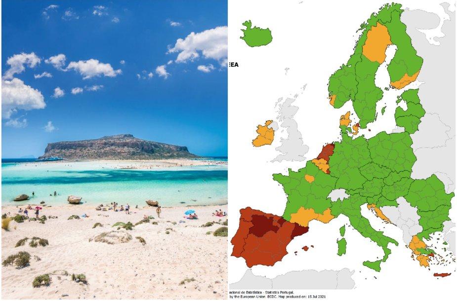 Į paveiktų šalių sąrašo raudonąją zoną pateko ir Kreta