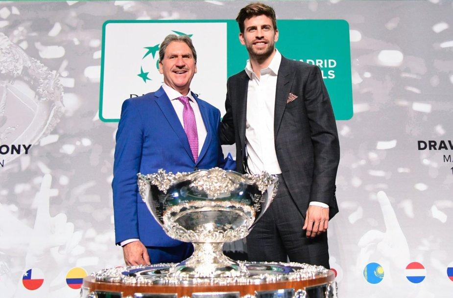 ITF prezidentas Davidas Haggerty ir futbolininkas Gerardas Pique