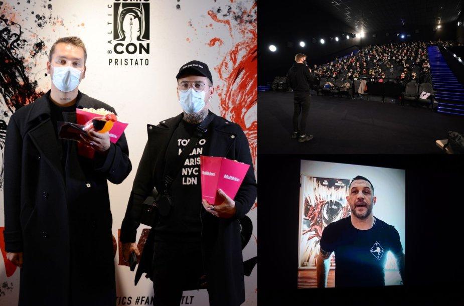 """Lukas Gricius ir Naglis Bierancas, išankstinė fantastinio trilerio """"Venomas 2"""" premjera"""