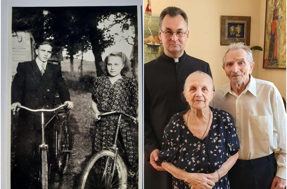 Antanas ir Stanislava 1950 m. ir šiemet su kunigu Vytautu Rapaliu
