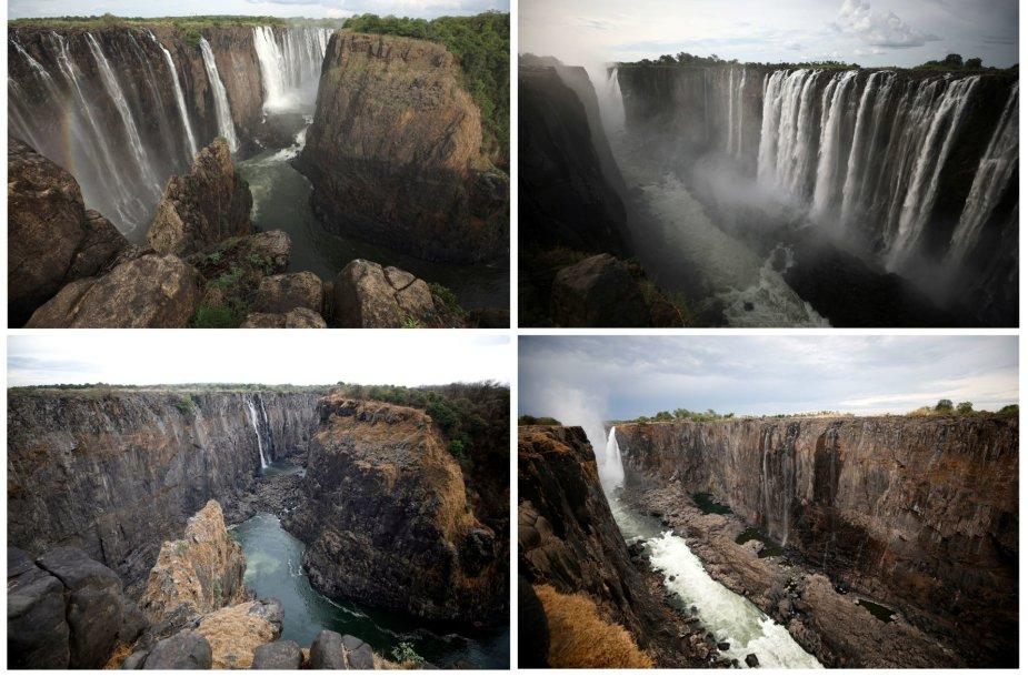 Viktorijos krioklys Zimbabvėje 2019 m. sausį (viršuje) ir gruodį (apačioje)