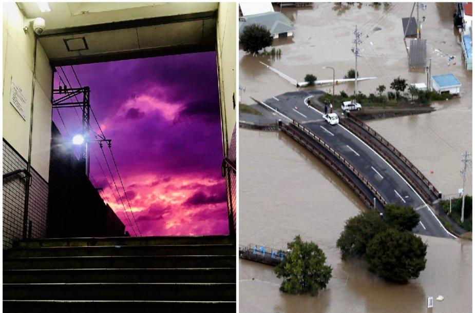 Prieš galingą taifūną Japonijos dangus nusidažė purpurine spalva