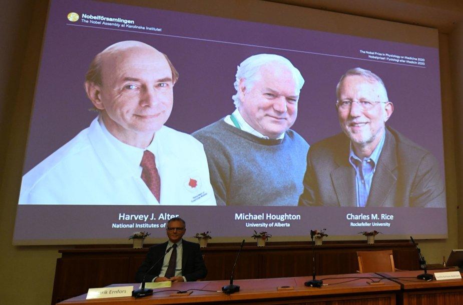 Nobelio medicinos premijos laureatai: Harvey JAlteris, Charlesas M.Rice'as, Michaelas Houghtonas