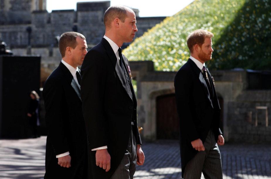 Princas Harry ir princas Williamas senelio Philipo laidotuvėse