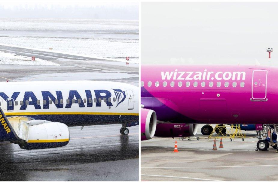 """""""Ryanair"""" ir """"WizzAir"""" avialinijos"""
