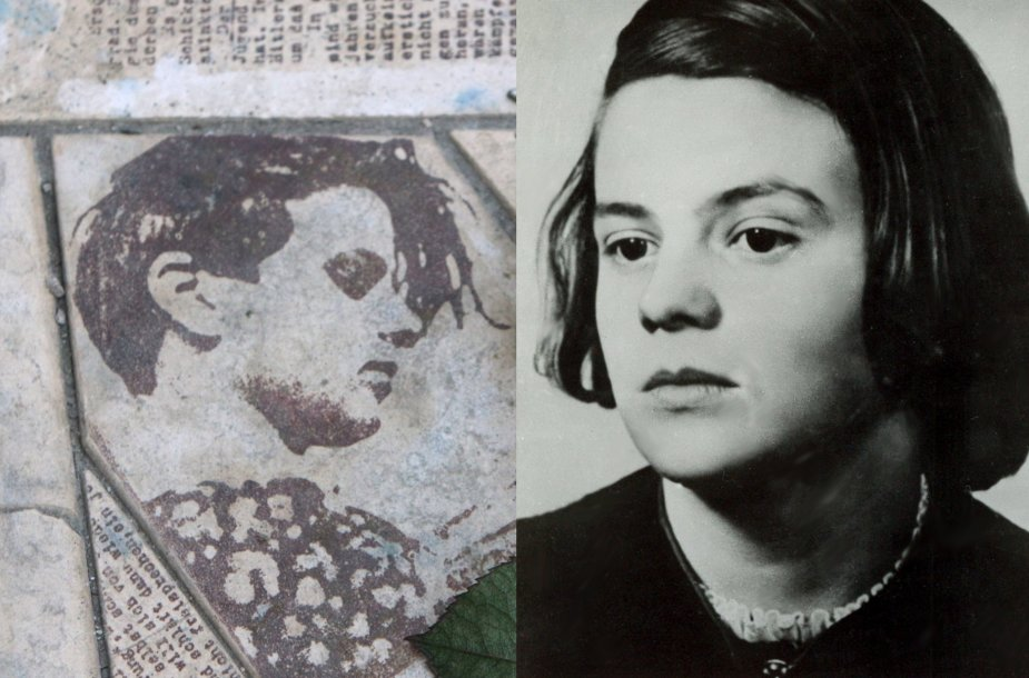 """Sophie Scholl (kairėje – Sophie atvaizdas paminkle """"Baltajai rožei"""" Miuncheno universitete)"""