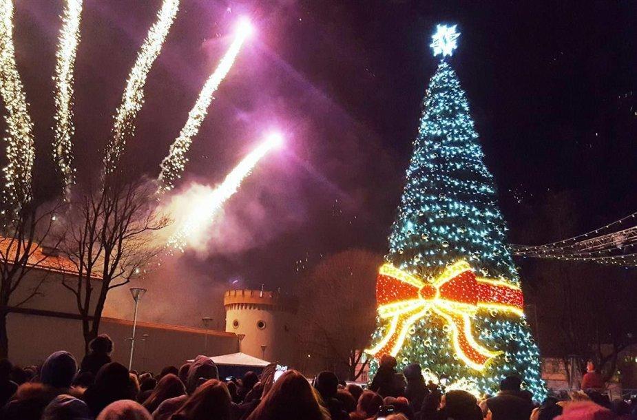 Tauragėje įžiebta Kalėdų eglė