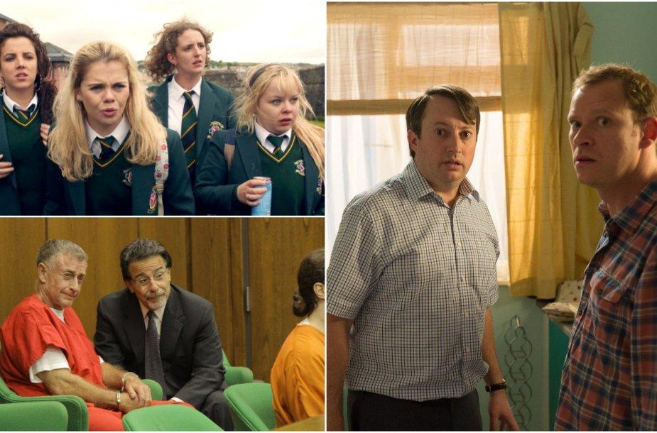 """Kadrai iš serialų """"Derry Girls"""", """"The Staircase"""", """"Peep Show"""""""
