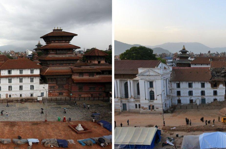 Nepalas prieš ir po žemės drebėjimą