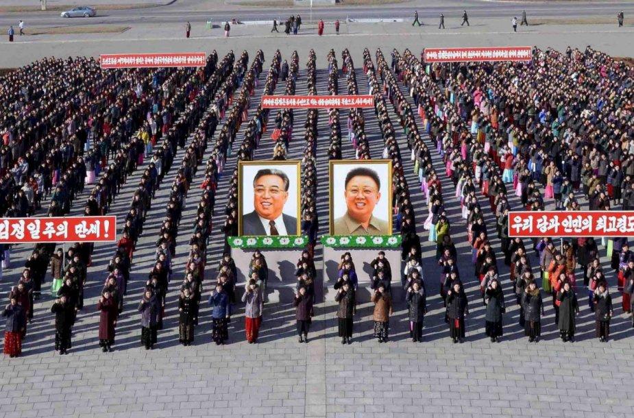 Kim Jong Uną palaikantys mitingai Šiaurės Korėjoje