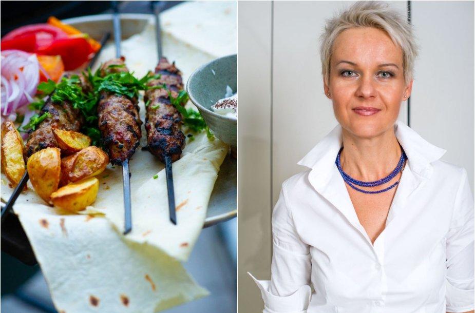 Nida Degutienė ir jos kepti avienos kebabai