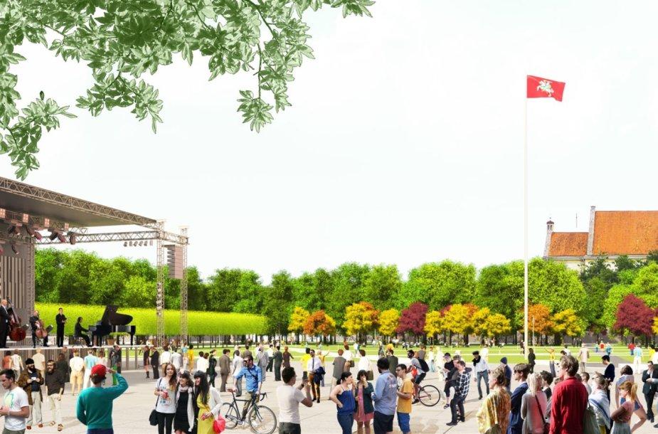 Lukiškių aikštės rekonstrukcijos projekto vizualizacija
