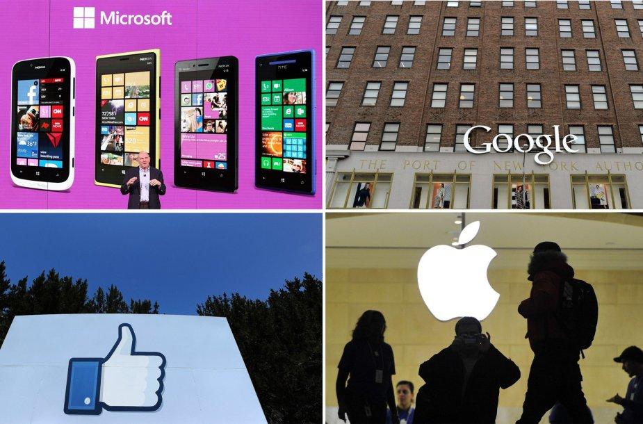 """Didžiosios technologijų įmonės """"Facebook"""", """"Microsoft"""" ir """"Apple"""" vis dažniau vienijasi prieš """"Google"""""""