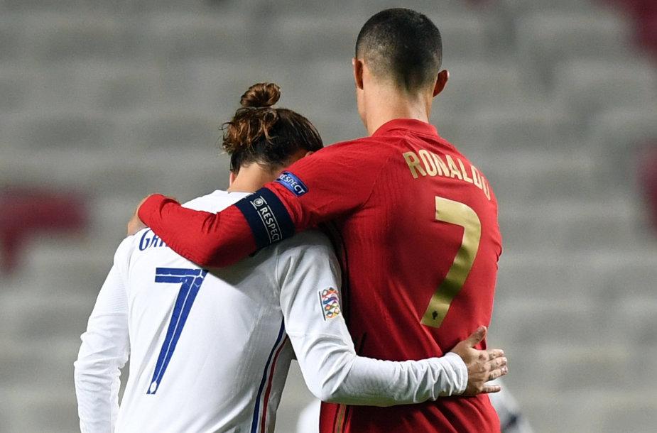 Antoine'as Griezmannas ir Cristiano Ronaldo