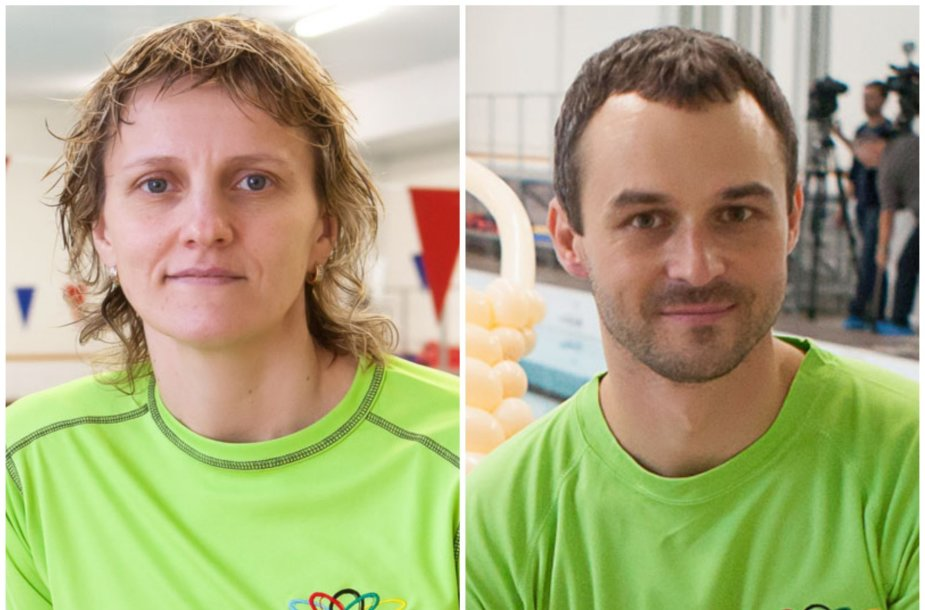 Plaukimo treneriai Romanas Teličėnas ir Lina Bielinienė