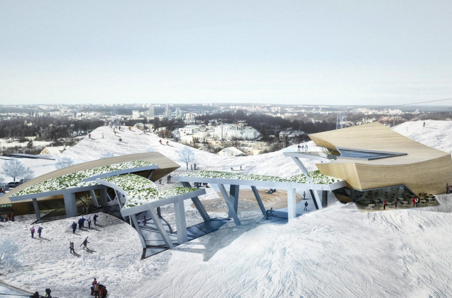 Liepkalnio slidinėjimo centro projekto vizualizacija