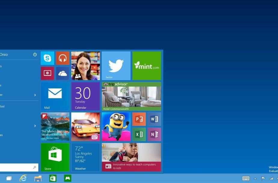 """""""Windows 10"""" bus sugrąžintas """"Start"""" meniu mygtukas"""
