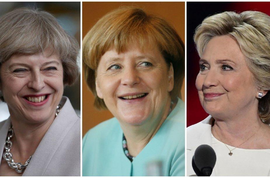 Theresa May, Angela Merkel ir Hillary Clinton
