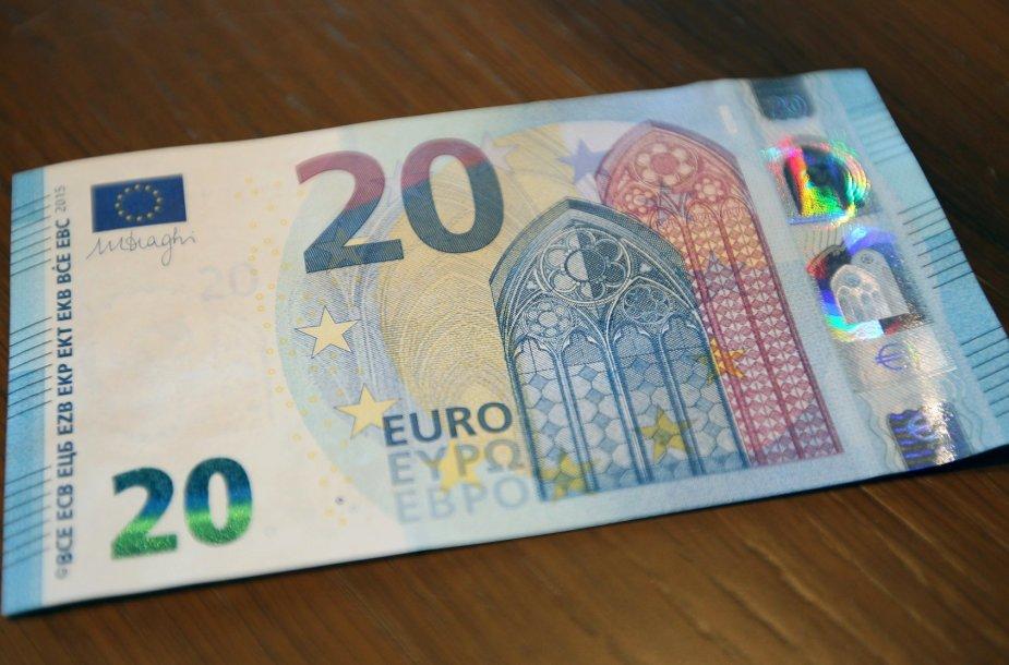 20 eurų vertės banknotai klastojami dažniausiai