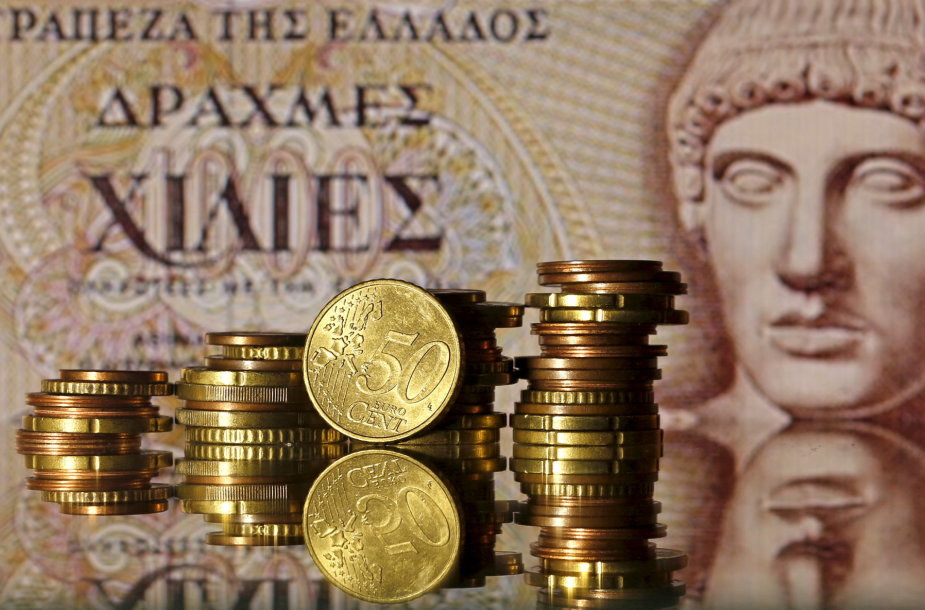 Graikijos drachmos banknotas ir euro monetos