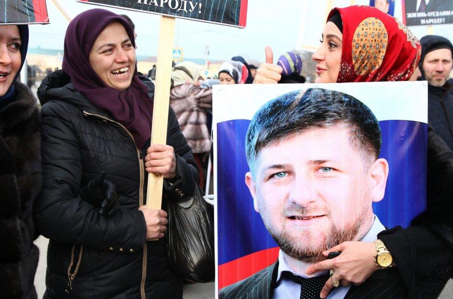 Ramzano Kadyrovo rėmėjai Grozne